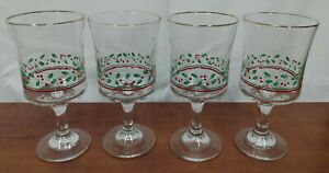 LT3 1985 Arby's HOLLY BERRY Christmas Collection Swirl Optic Set 4 WATER GOBLETS