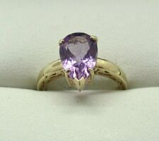9 carat Gold Large Pear Shaped Amethyst Ring Size M..1/2