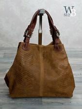 Ital. Schultertasche Shopper Damentasche Schlangenhaut Optik Braun Leder 603BR