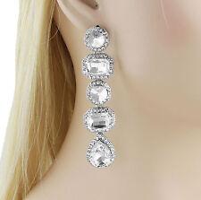 Vegas Austrian Rhinestone Crystal Chandelier Dangle Earrings Bridal E3516 Silver