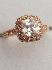 18k Rose Gold Princess/Square Austrian Crystal Dress Ring- Size L - Uk Seller