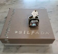 Silpada Sterling Silver Oxidized Matte Rectangle Sz 7 Cubic Zirconia Ring R1860