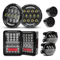"for Jeep Wrangler 07-2017 EMC Tail Lights&7"" LED Halo Headlights&Fog Turn Lights"