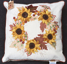 "Beaded Sunflowers & Embroidered Autumn Leaves Wreath 18"" Square Pillow"