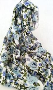 NEW Floral Infinity Scarf Snood Blue & lilac roses. Romantic & Stunning