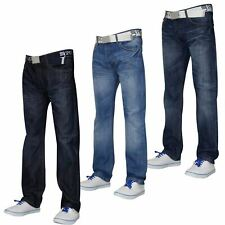 Mens Denim Jeans Straight Cut Regular Fit Pants Trousers 100% Cotton Big & Tall