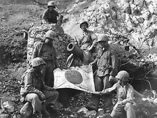 WWII B&W Photo US Marines Captured Japanese Flag Iwo Jima  WW2 World War / 1260
