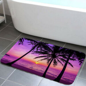 Sunset Purple Sky Shower Curtain Toilet Cover Rug Mat Contour Rug Set