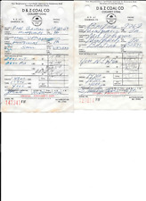 Old Advertising Invoices for D & Z Coal Co. for Colliery Coal in Shamokin PA