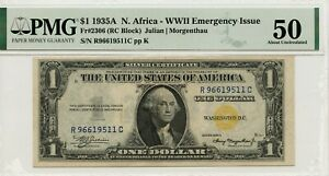 1935 A $1 SILVER CERTIFICATE NORTH AFRICA FR.2306  PMG ABOUT UNC AU 50 EPQ 9511