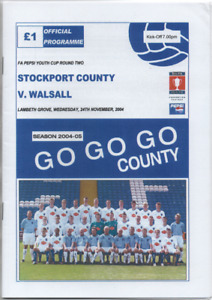 Saddlers : Stockport v Walsall 2004 2004/05 FA Youth Cup 2nd round POSTPONED