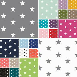 Baumwollstoff Sterne Webware METERWARE Popeline viele Farben OEKOTEX150cm breit
