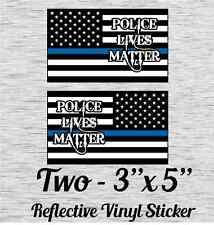 "Cop Flag Plm-B Police Lives Matter Reflective Vinyl Sticker 3"" X 5"" Set of 2"