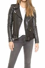 Fashion Women Slim Biker Motorcycle Real Soft Leather Zipper Jacket Coat Hot ER