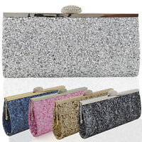 Womens Clutch Bag Sparkly Ladies Glitter Bridesmaid Prom Party Evening Bridal