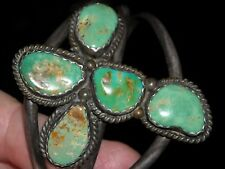 """vintage old sterling cuff bracelet green prickly pear cactus cross 2 3/8X2 1/4"""""""