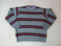 VINTAGE Tommy Hilfiger Sweater Adult Extra Large Gray Red Striped Crest Mens 90s