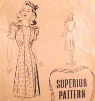 Misses Vintage Dress Sewing Pattern Size 14 Superior Sears Powell No Printing
