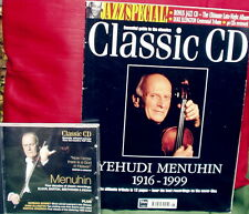 CLASSIC CD YEHUDU MENUHIN Tribute May 1999 special Music Magazine + CD VG Cond