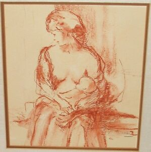 MOTHER AND CHILD ORIGINAL OLD COLORED GRAPHITE DRAWING PAINTING SIGNED BY ARTIST