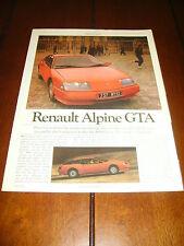 1985 RENAULT ALPINE GTA ***ORIGINAL ARTICLE*** RARE!!!
