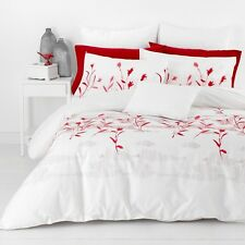 New In 2 Linen Hannah Red Queen Size Quilt / Doona Cover Set  300TC Cotton