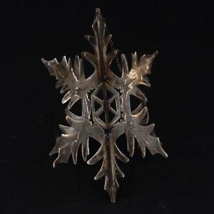 VTG Sterling Silver 3D MEXICO JANNA THOMAS Snowflake Christmas Ornament - 19.5g