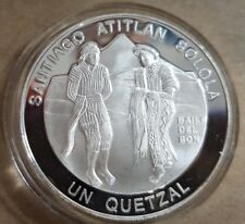 GUATEMALA 1997. 1 QUETZAL PLATA Encuentro Dos Mundos. 3ª SERIE IBEROAMERICANA.