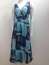 Together sz 44 Fit AUS 16 Teal Blue & Black Chiffon Dress w Slip