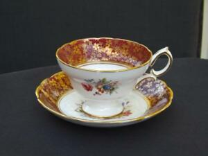 Hammersley Bone China Footed Red & Floral Cup & Saucer 1/4748 England Mint 3423