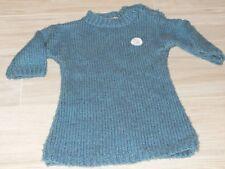2342 - Maxi Pull 3 ans tricoté main vert bleu