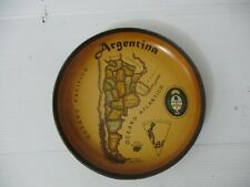 A vintage mashed paper made decorated  plate with Argentina map, unsigned, 70's.
