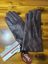 """Vintage """"Cara by Gates"""" Ladies Brown Leather Gloves Size Medium Nwt 100% Leather"""