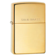More details for zippo highly polished solid brass lighter engraved lid windproof compact design