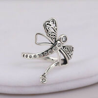 Stunning Genuine 925 Sterling Silver Enchanting Dreamy Dragonfly Clear CZ Ring