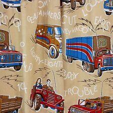 1970s CB Radio Curtains Man Cave Novelty Fabric Valance Trucker Logging Trucks