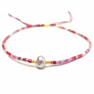 Dünnes Frauen Armband Rocailles Miyuki Glasperlen rosa Süßwasser-Perle Solitär