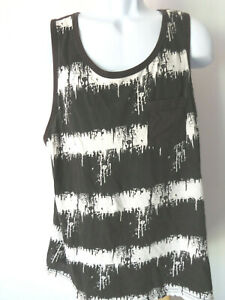 Men's XL Black White Blurry Striped Tank Top Paint Lines Dripping Emo Sleeveless