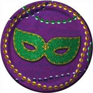 Rue Bourbon 7 Inch Paper Plates 8 pack Mardi Gras Tableware Party Supplies