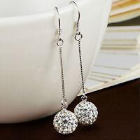 Lange Ohrringe Frauen Silber Haken Kristall Runde Kugel Drop Dangle Ohrring Z ML