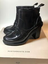 Hunter $240 NEW Refined Gloss Black Penny Loafer High Heel Boots Womens Size 9 M