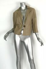 Brunello Cucinelli tan leather 3/4 sleeve cropped jacket 1button SzM pockets