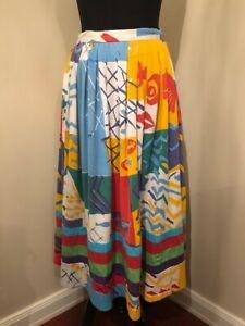 Vintage 1980 Rae Ganim original Hand Screen Printed cotton skirt