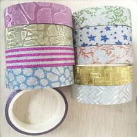 10pcs 1.5cmx3m Glitter Pattern Washi Tape Adhesive Sticker Decorative DIY Crafts