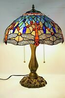 """Tiffany Style Dragonfly Stained Glass Table Lamp 16"""" shade, bedroom, living room"""