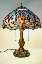 "Tiffany Style Dragonfly Stained Glass Table Lamp 16"" shade, bedroom, living room"