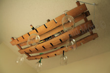 Hanging Wine Glass and Bottle Holder Made w/  Barrel Stave Staves Winery 18+