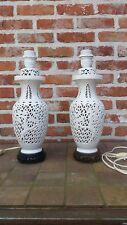 pair lamps mid century porcelain ajouré chinese vintage white vase