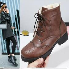 Womens Winter Fashion PU Leather Fur Lined Lace Up Brogue Combat Boots Shoes SKG