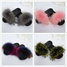 Cheap Fur Slides Real Raccoon Fur Slipper Anti-slip Flip Flop Fluffy Slide66045B